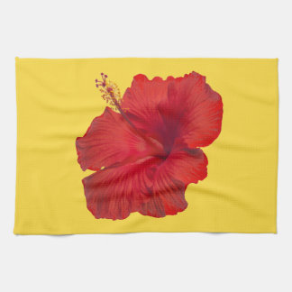 Red Hibiscus on Lemon Zest Yellow Template Towels