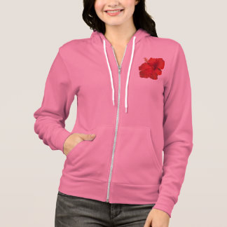Red Hibiscus on White- Customized Template Hoodie