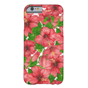 Red hibiscus pattern II Barely There iPhone 6 Case