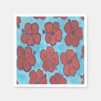 Red Hibiscus Pattern Paper Napkins