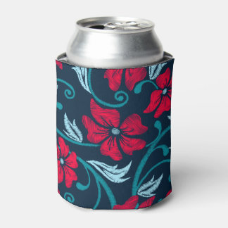 Red hibiscus printed embroidery can cooler