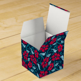Red hibiscus printed embroidery favour box