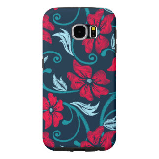 Red hibiscus printed embroidery samsung galaxy s6 cases