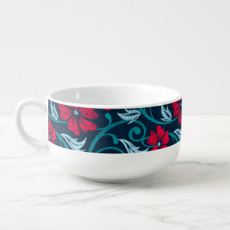 Red hibiscus printed embroidery soup mug