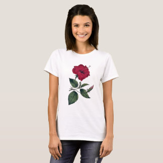 Red Hibiscus Recolored Botanical Vintage Image T-Shirt