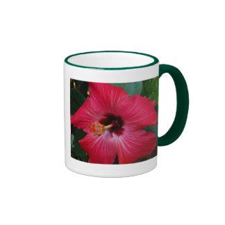 Red Hibiscus Ringer Mug