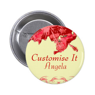 Red hibiscus tropical exotic wedding party button