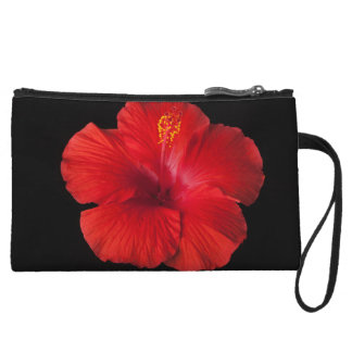 Red Hibiscus Tropical Flower Flowers Floral Wristlet
