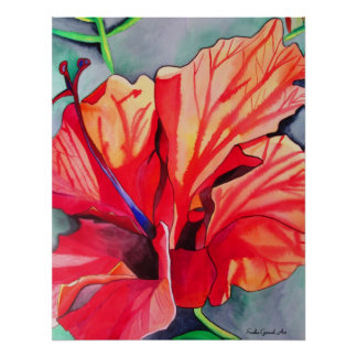 Red Hibiscus tropical flower watercolor art Print