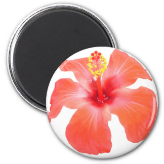 Red Hibiscus Vector Isolated 6 Cm Round Magnet