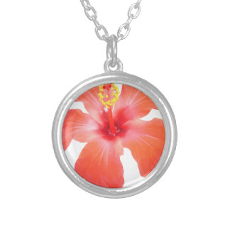 Red Hibiscus Vector Isolated Silver Plated Necklace