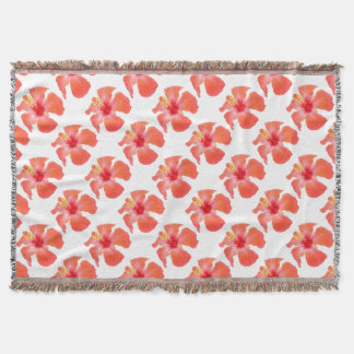 Red Hibiscus Vector Isolated Throw Blanket