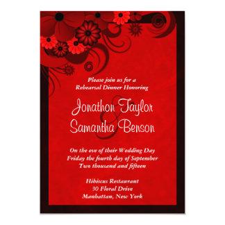 "Red Hibiscus Wedding Rehearsal Dinner Invitations 5"" X 7"" Invitation Card"