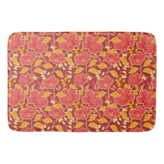 Red Hibiscus With Butterflies Large Bath Mat