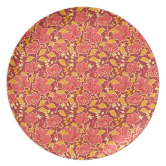 Red Hibiscus With Butterflies Melamine Plate