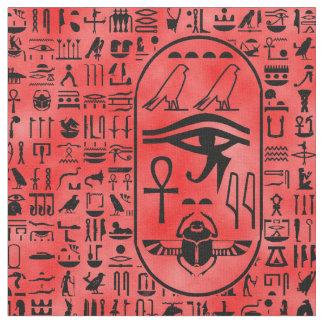 Red Hieroglyphics Fabric