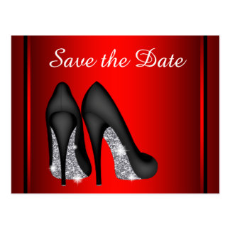 Red High Heel Shoe Save The Date Postcards
