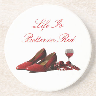 Red High Heel Shoes and Red Wine Drink Coaster