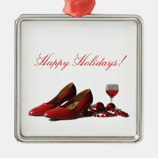 Red High Heel Shoes and Red Wine Metal Ornament