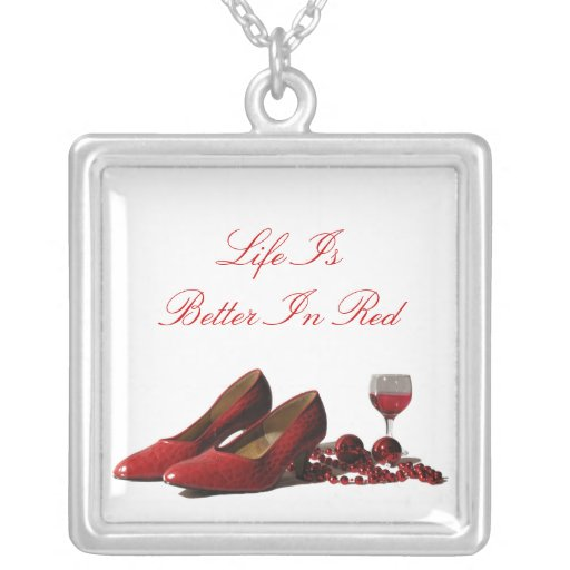 Red High Heel Shoes and Red Wine Custom Necklace