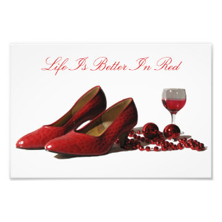 Red High Heel Shoes and Red Wine Photo Art