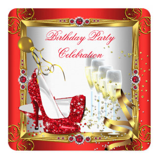 "Red High Heel Shoes Champagne Gold White 2 5.25"" Square Invitation Card"