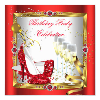 Red High Heel Shoes Champagne Gold White Card