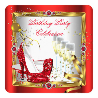 "Red High Heel Shoes Champagne Gold White 5.25"" Square Invitation Card"