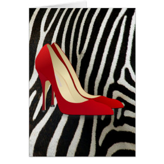 red high heel shoes greeting card