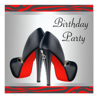 Red High Heel Shoes Red Zebra Birthday Party 13 Cm X 13 Cm Square Invitation Card