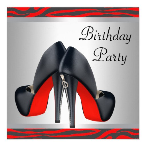 Red High Heel Shoes Red Zebra Birthday Party Invitation