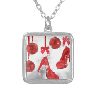 Red High Heels and Christmas Balls and Red Ribbon Square Pendant Necklace