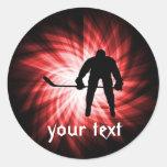 Red Hockey Round Stickers