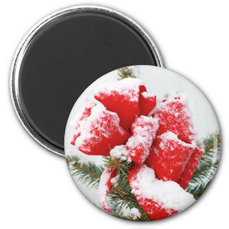Red Holiday Bow Dusted With Snow | Christmas Xmas 6 Cm Round Magnet