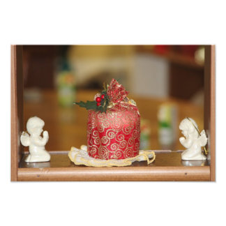 Red Holiday Candle with Angel s Photo Enlargement