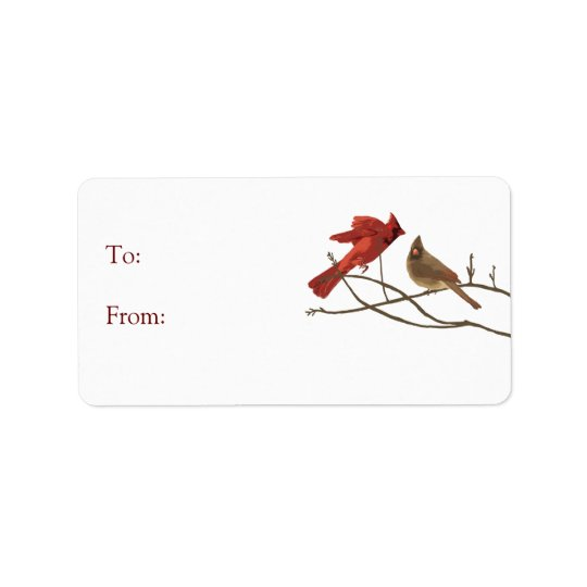 Red Holiday Cardinal Birds Gift Tag Address Label