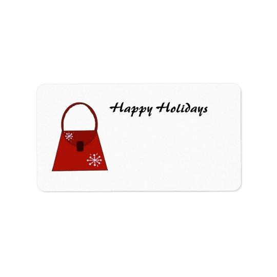 Red Holiday Handbag -  Happy Holidays Address Label