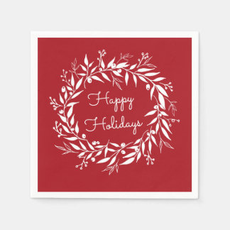 Red Holiday Laurel Wreath and Berries Paper Napkins