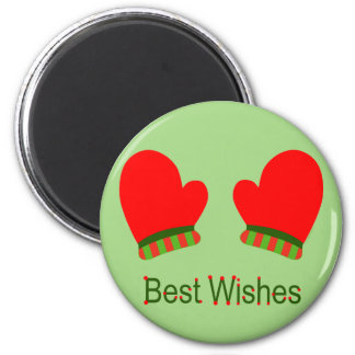 Red Holiday Mittens (Best Wishes) Refrigerator Magnet