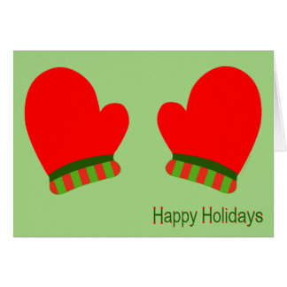 Red Holiday Mittens (Happy Holidays) Card