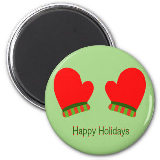 Red Holiday Mittens (Happy Holidays) Fridge Magnets