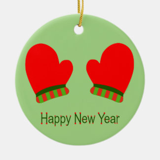 Red Holiday Mittens (Happy New Year) Christmas Ornament