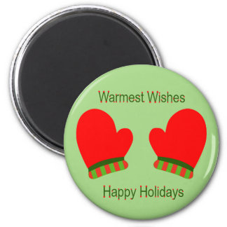Red Holiday Mittens (Holiday Wishes) Refrigerator Magnets