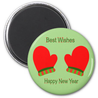 Red Holiday Mittens (New Year Best Wishes) Fridge Magnet