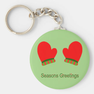 Red Holiday Mittens (Seasons Greetings) Basic Round Button Key Ring