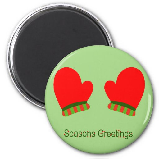 Red Holiday Mittens (Seasons Greetings) Refrigerator Magnet