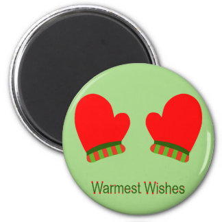 Red Holiday Mittens (Warmest Wishes) Refrigerator Magnet