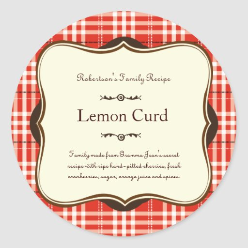 Red Holiday Plaid Label Sticker