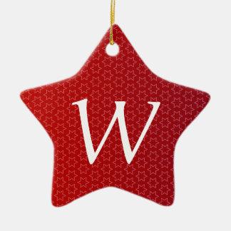 Red Holiday Stars Monogram M Gift Idea Ceramic Ornament