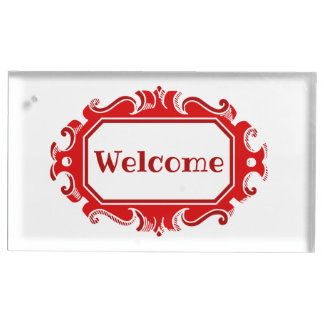 Red holiday welcome table card holder